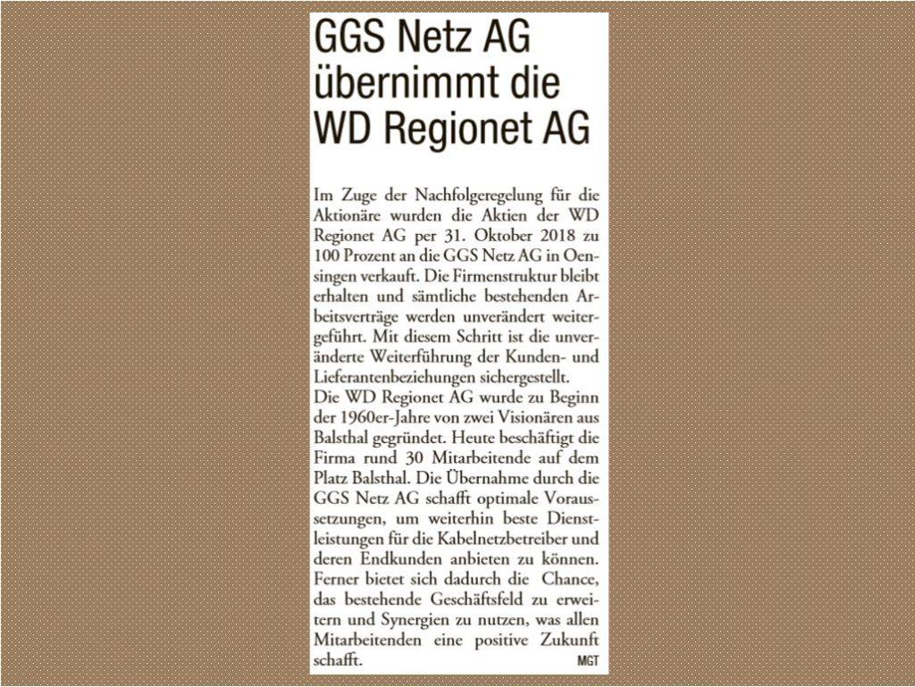 Zeitungsbericht ggs netz ag übernimmt WD RegioNet AG